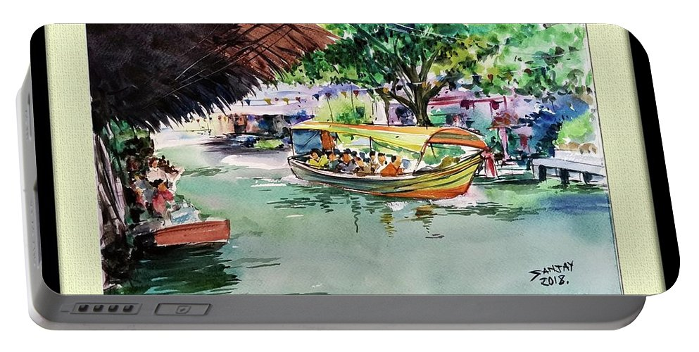 Floting Market Portable Battery Charger featuring the painting Floting Market by Sanjay Das