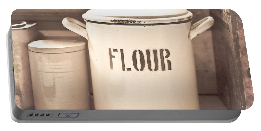 Antique Portable Battery Charger featuring the photograph Flour Tin by Tom Gowanlock