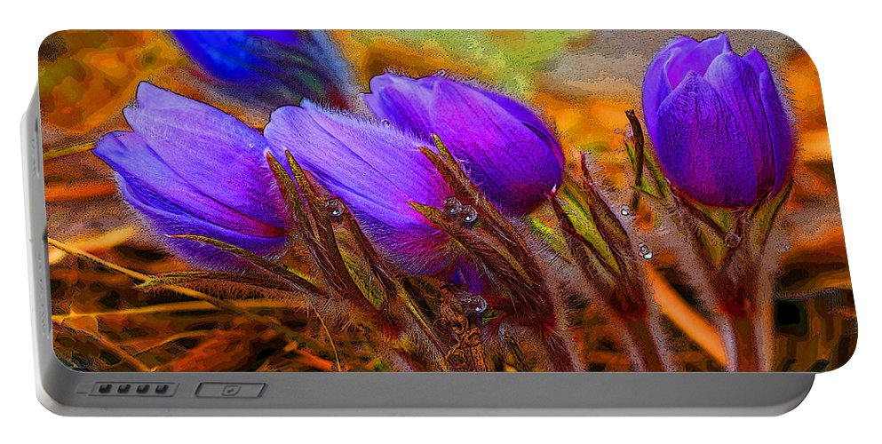 Flowers Portable Battery Charger featuring the photograph Flourescent Flowers by Heather Coen