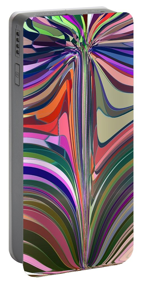 Abstract Portable Battery Charger featuring the digital art Flourish by Tim Allen