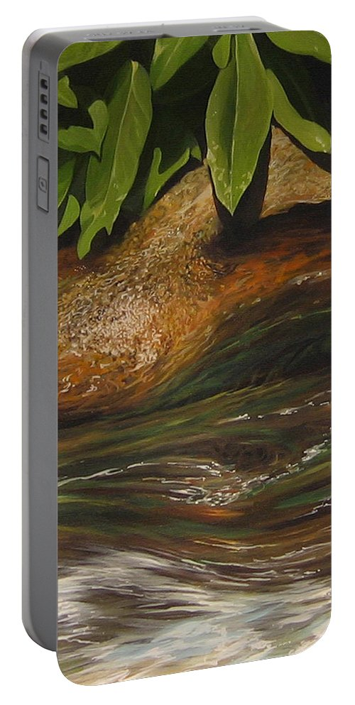 Colorado Mountain Stream Portable Battery Charger featuring the painting Flow by Hunter Jay