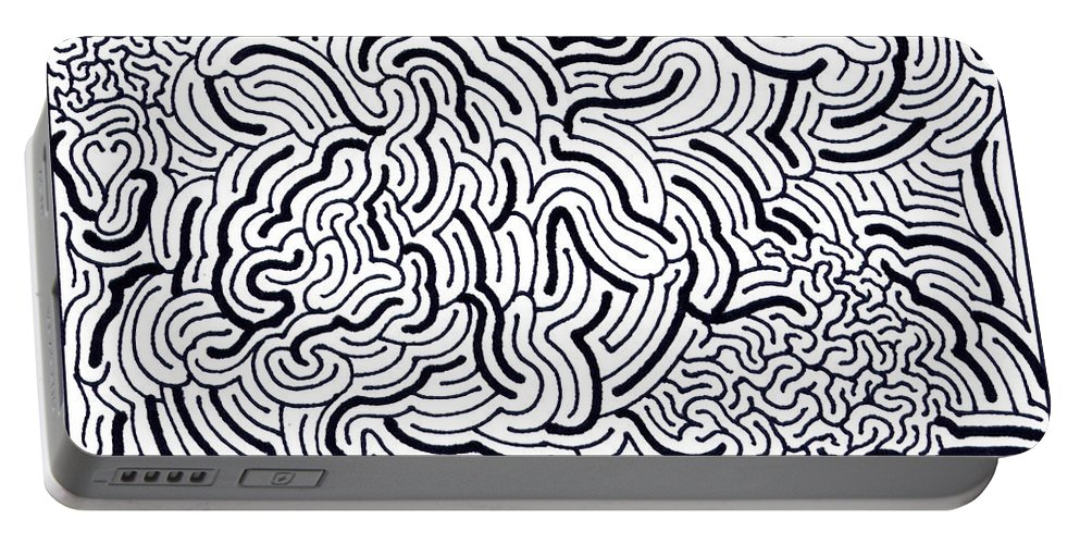 Mazes Portable Battery Charger featuring the drawing Flow by Steven Natanson