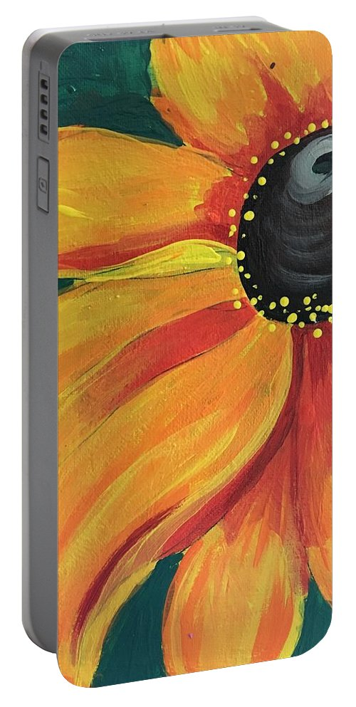 Easterseals Southwest Florida Portable Battery Charger featuring the painting Flower A-blaze by Denise M