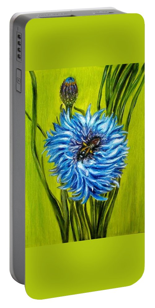 Floral Portable Battery Charger featuring the painting Flower and Bee oil painting by Natalja Picugina