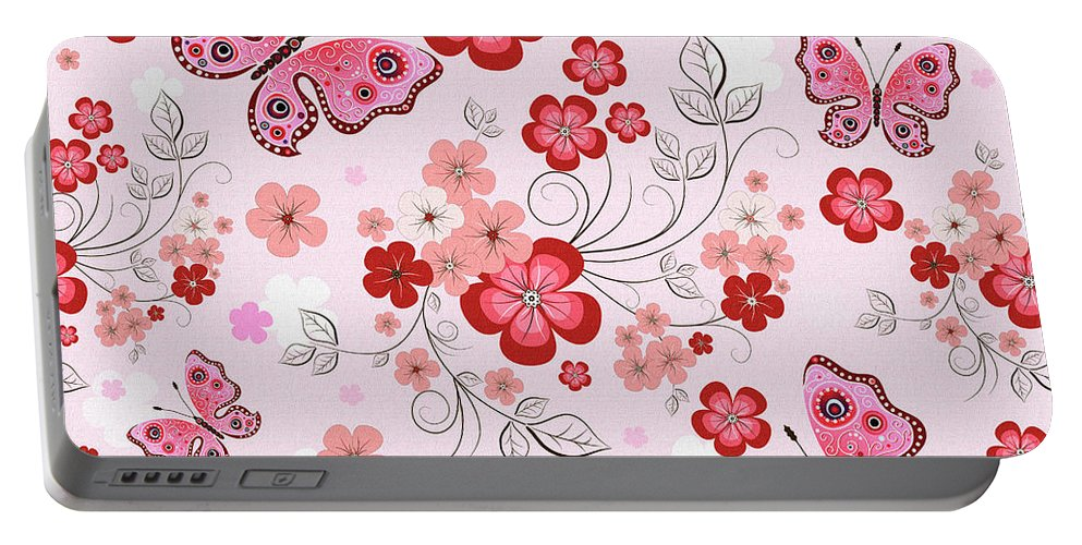 Floral Portable Battery Charger featuring the digital art Flower And Butterfly Bj01 by Sandy Sheni