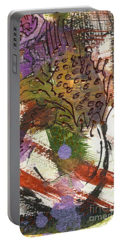 Purple Portable Battery Charger featuring the mixed media Flower And Leaves II by Angela L Walker