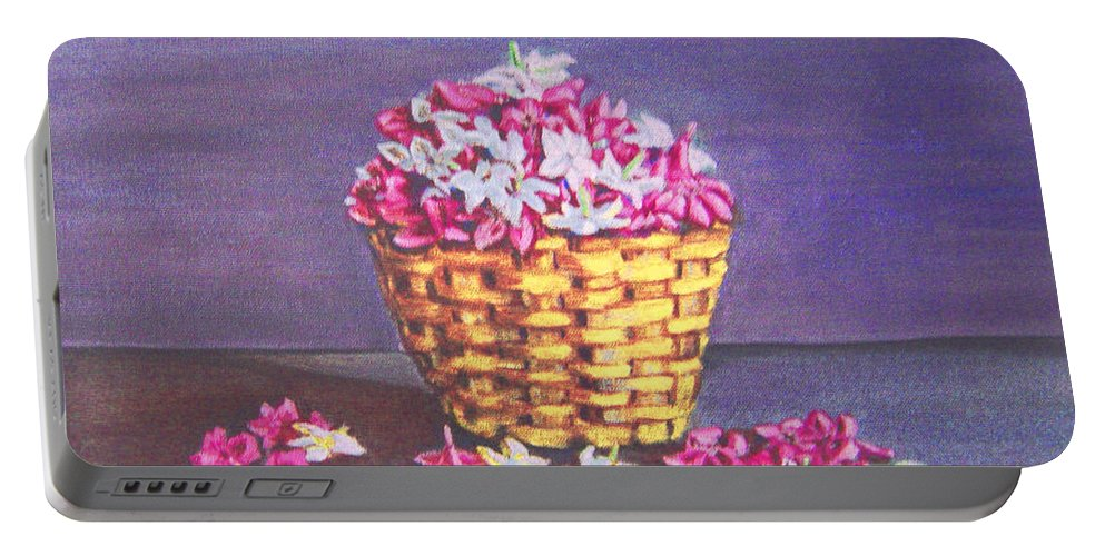 Flower Portable Battery Charger featuring the painting Flower Basket by Usha Shantharam