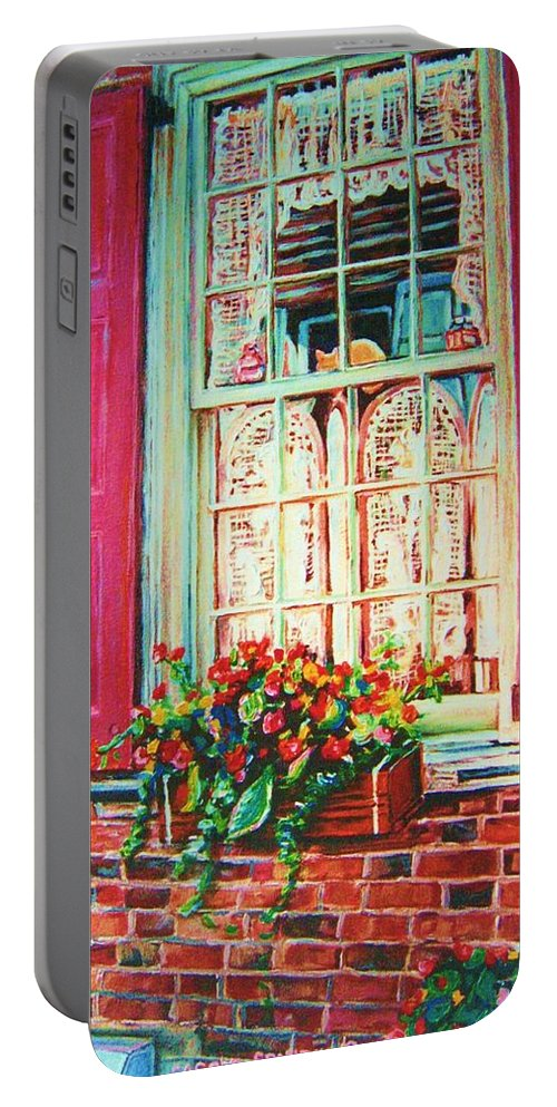 Flower Box Portable Battery Charger featuring the painting Flower Box And Pink Shutters by Carole Spandau