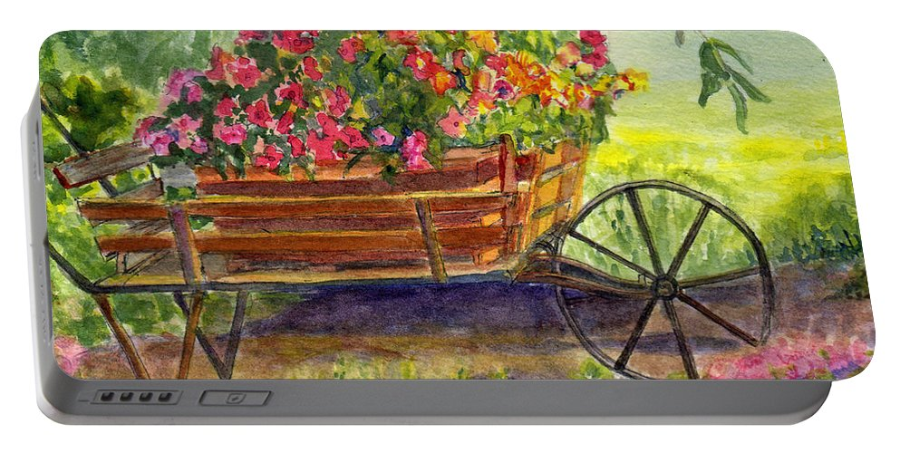 Flower Portable Battery Charger featuring the painting Flower Cart by Katherine Berlin