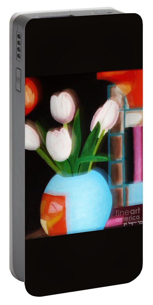 Landscape Portable Battery Charger featuring the painting Flower Decor by Yael VanGruber