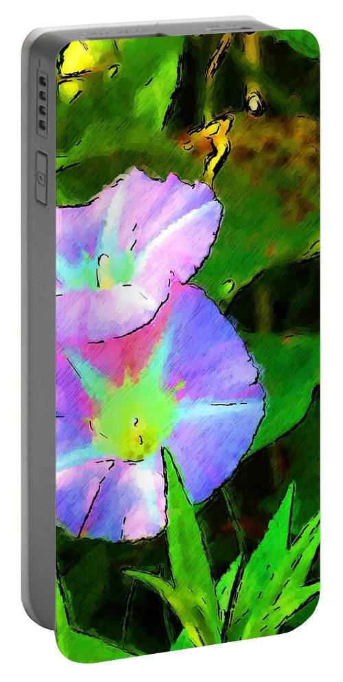 Digital Photograph Portable Battery Charger featuring the photograph Flower Drawing by David Lane