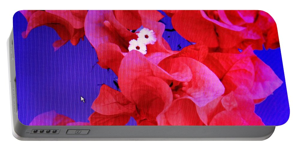 Red Portable Battery Charger featuring the photograph Flower Fantasy by Ian MacDonald