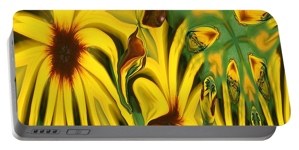 Abstract Portable Battery Charger featuring the photograph Flower Fun by Linda Sannuti