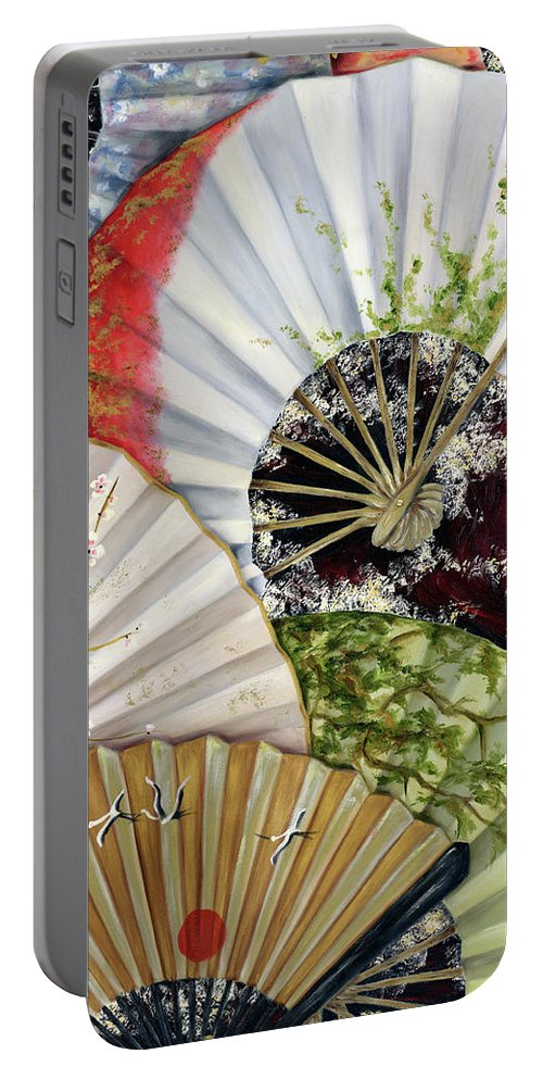 Japanese Portable Battery Charger featuring the painting Flower Garden by Hiroko Sakai