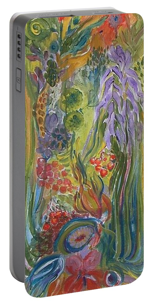 Acrylic Portable Battery Charger featuring the painting Flower Garden by Rita Fetisov