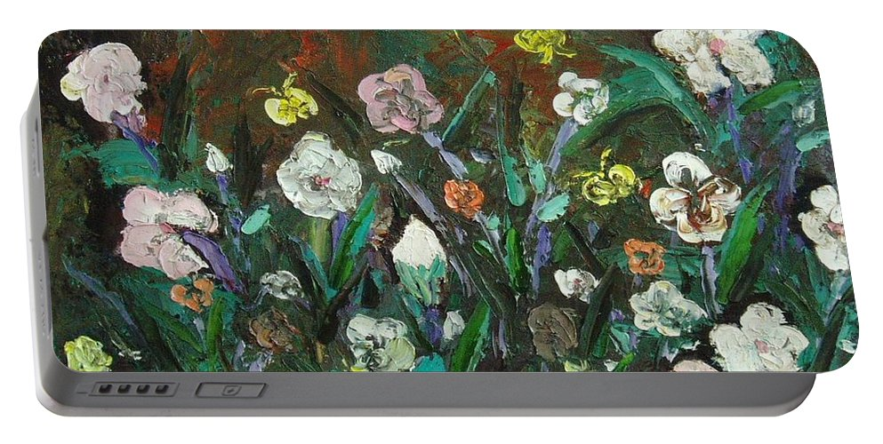 Abstract Paintings Portable Battery Charger featuring the painting Flower Garden by Seon-Jeong Kim