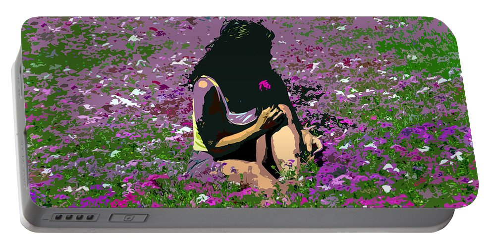 Flowers Portable Battery Charger featuring the painting Flower Girl by David Lee Thompson