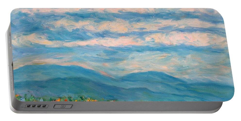 Blue Ridge Paintings Portable Battery Charger featuring the painting Flower Path To The Blue Ridge by Kendall Kessler
