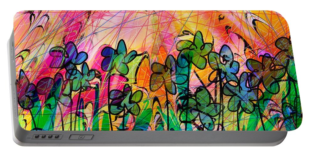 Flowers Portable Battery Charger featuring the digital art Flower Power by Rachel Christine Nowicki