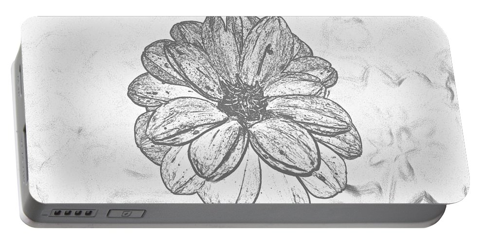 Flower Portable Battery Charger featuring the digital art Flower Sketch by Jeramey Lende