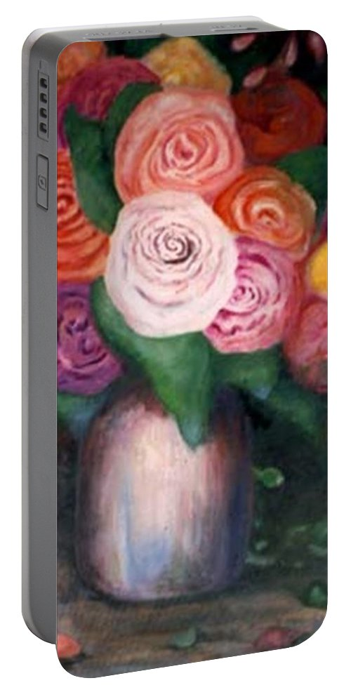 Flowers Portable Battery Charger featuring the painting Flower Spirals by Jordana Sands