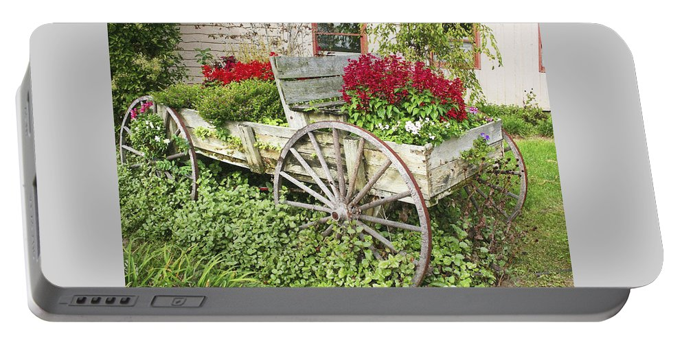 Wagon Portable Battery Charger featuring the photograph Flower Wagon by Margie Wildblood