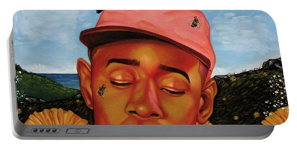 Portable Battery Charger featuring the painting Flowerboy by Paul Firmin