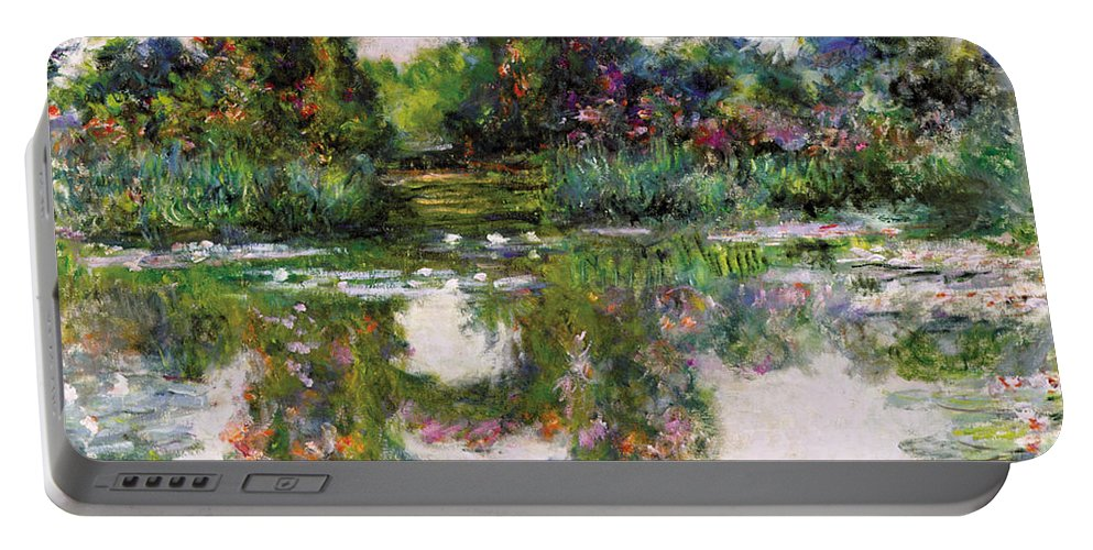 Claude Monet Portable Battery Charger featuring the painting Flowering Arches, Giverny by Claude Monet