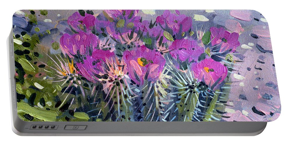 Flowering Cactus Portable Battery Charger featuring the painting Flowering Cactus by Donald Maier