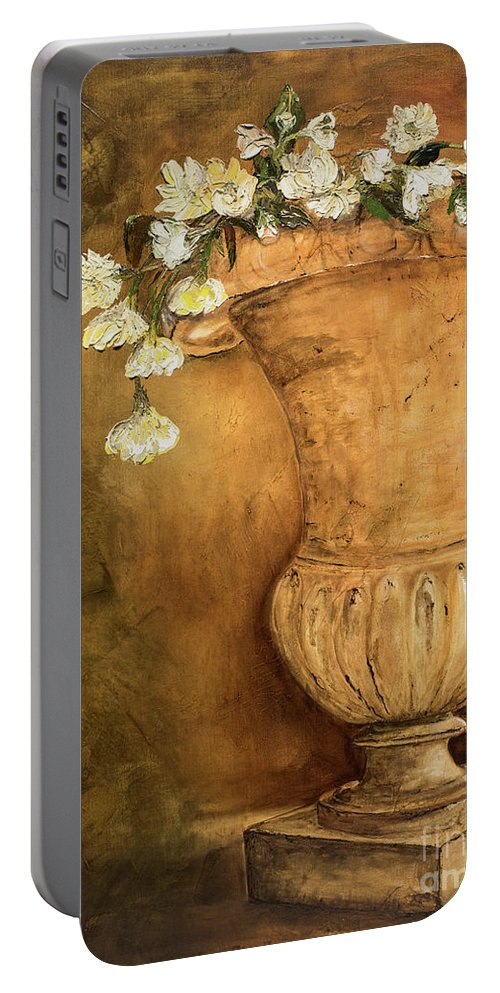 Urn Painting Portable Battery Charger featuring the painting Flowering Urn by Jodi Monahan