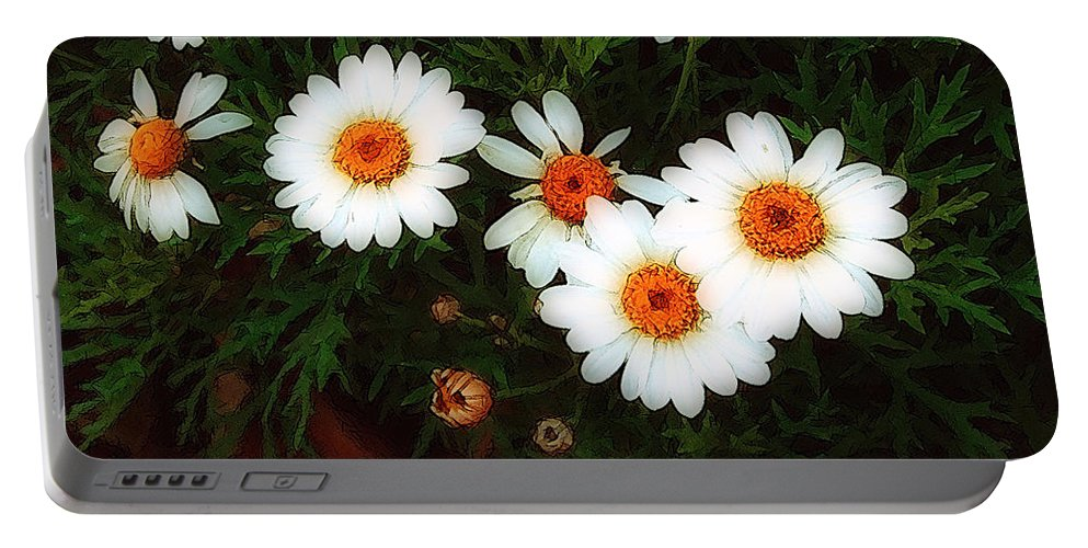 Bush Portable Battery Charger featuring the painting Flowering Yew by RC DeWinter