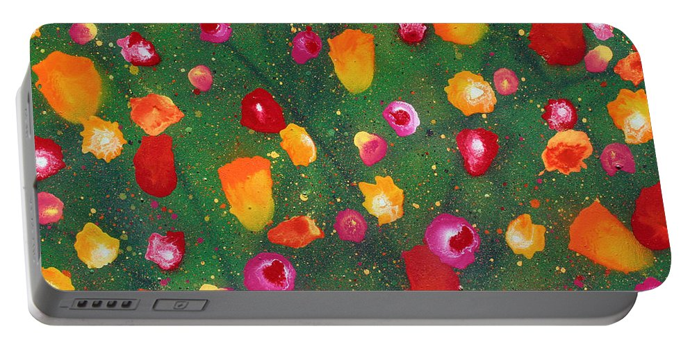 Flowers Portable Battery Charger featuring the painting Flowers Afloat by Ric Bascobert