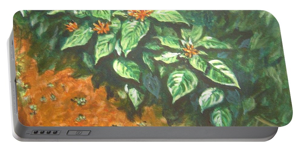 Orange Portable Battery Charger featuring the painting Flowers And Earth by Usha Shantharam
