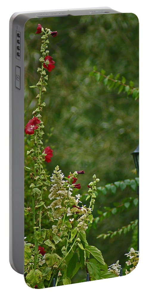 Lantern Portable Battery Charger featuring the photograph Flowers And Lanterns by Maria Keady