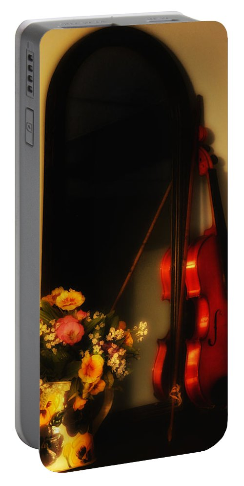 Flowers Portable Battery Charger featuring the photograph Flowers And Violin by Bill Cannon