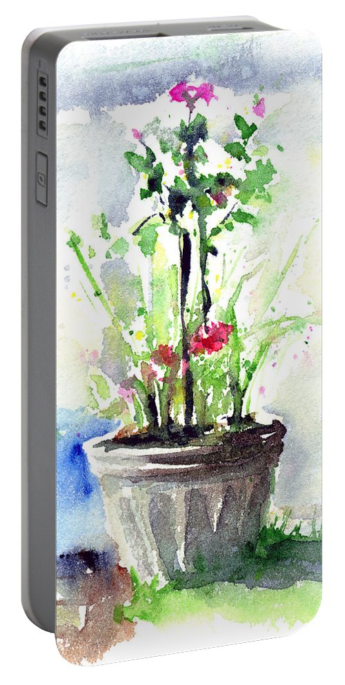 Flowers Portable Battery Charger featuring the painting Flowers By The Pool by John D Benson