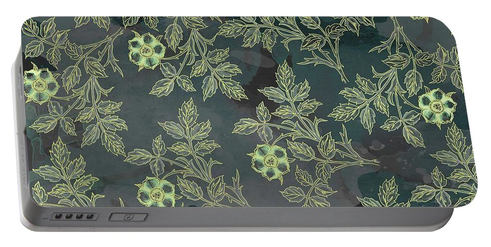 Print Fabric Design Portable Battery Charger featuring the digital art Flowers Fabric Print Design by Sandipan Bhosale