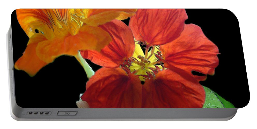 Nasturtiums Portable Battery Charger featuring the painting Flowers For Ebie by RC DeWinter
