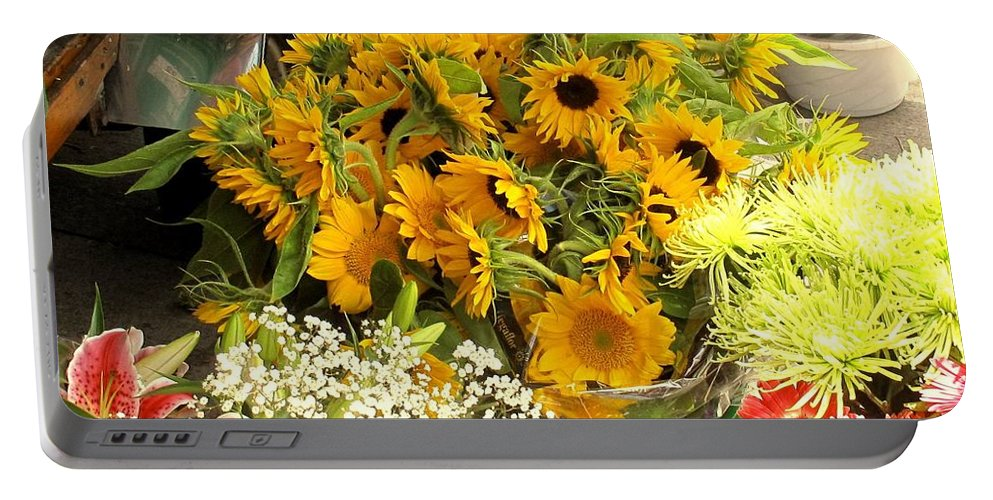 Flowers Portable Battery Charger featuring the photograph Flowers For Sale by Ian MacDonald