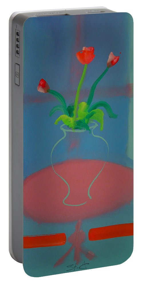 Dufy Portable Battery Charger featuring the painting Flowers In A Bay Window by Charles Stuart