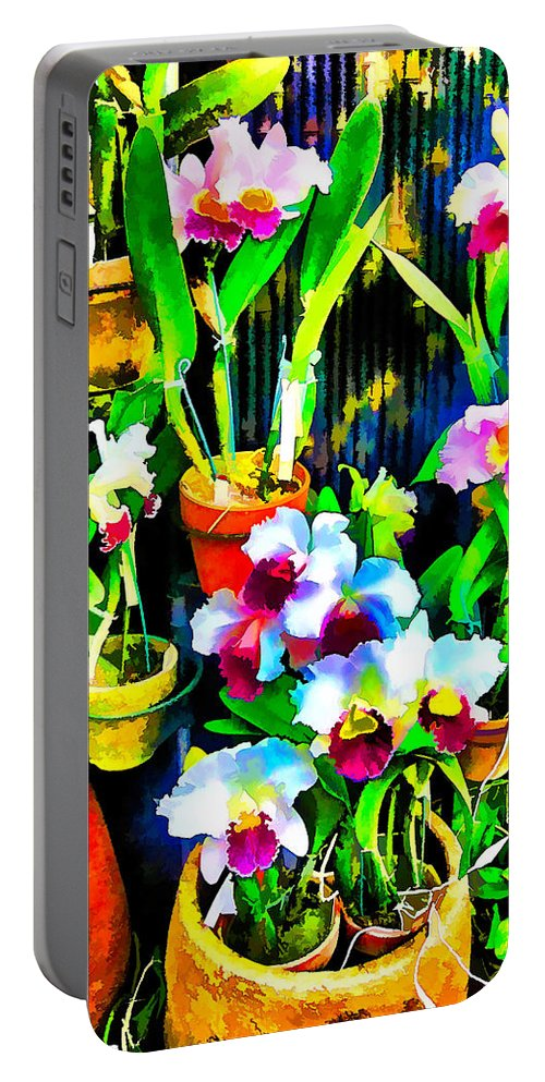 Flowers Portable Battery Charger featuring the photograph Flowers In Abstract 18 by Kristalin Davis