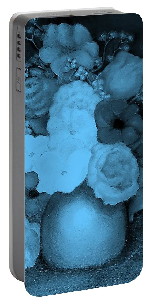 Blue Flowers Portable Battery Charger featuring the painting Flowers In Blue by Jordana Sands