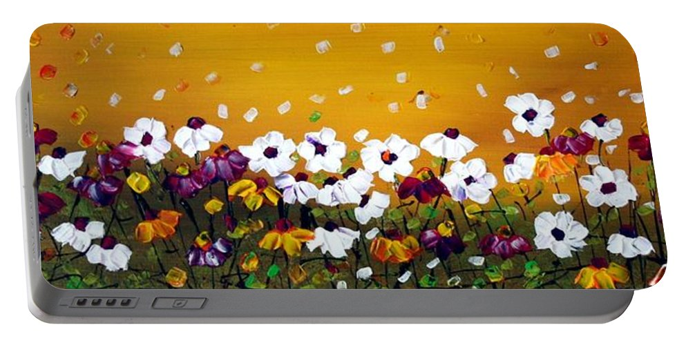 Flowers Portable Battery Charger featuring the painting Flowers In The Sunset by Luiza Vizoli