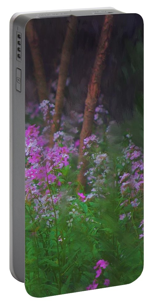 Landscape Portable Battery Charger featuring the painting Flowers In The Woods by David Lane