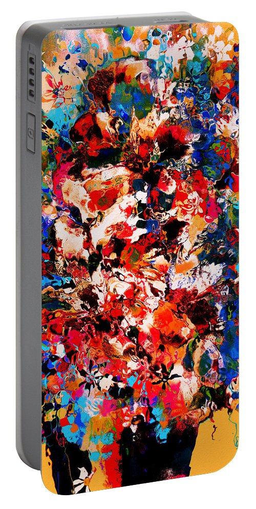 Flowers Portable Battery Charger featuring the mixed media Flowers Of Love by Natalie Holland