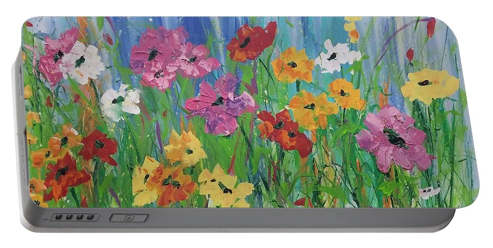 Flowers Portable Battery Charger featuring the painting Flowers Of Summer by Terri Einer