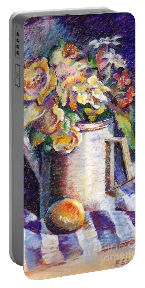Flowers Portable Battery Charger featuring the painting Flowers by Stan Esson