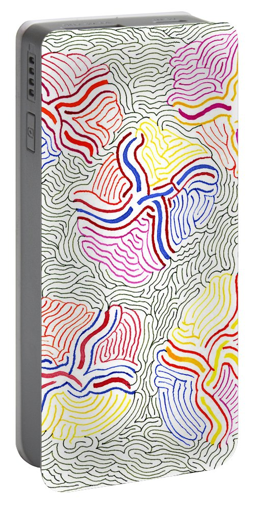 Mazes Portable Battery Charger featuring the drawing Flowers by Steven Natanson