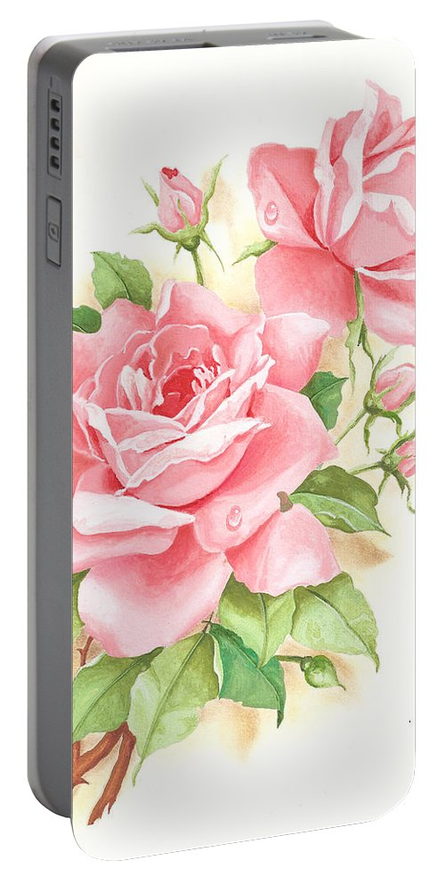 Flowers Portable Battery Charger featuring the painting Roses by Laura Greco