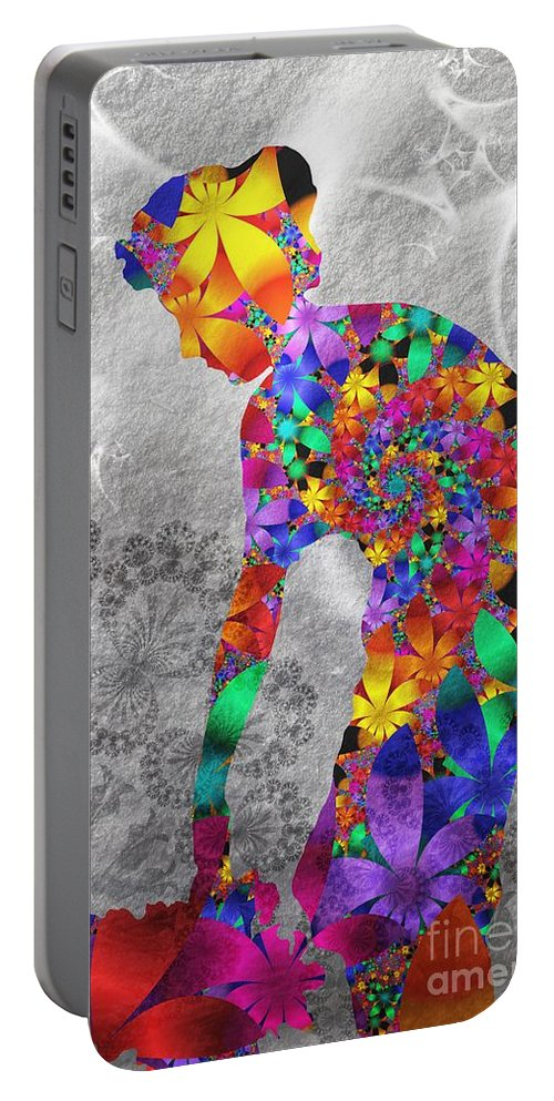 Flower Portable Battery Charger featuring the digital art Flowerwoman by Issabild -